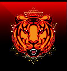 tiger face mascot logo design vector image