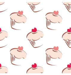 Tile pattern pink cupcakes on white background vector
