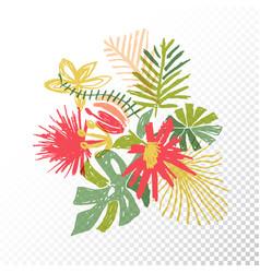 Tropical flower bouquet translucent background vector