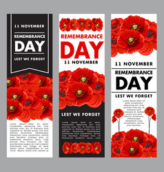 Vertical posters fo remembrance day vector