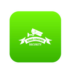 video control icon green vector image