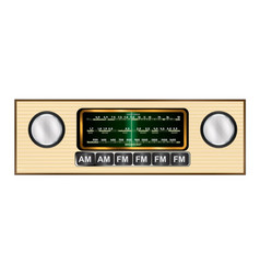 Vintage transistor car radio in wood on a white vector