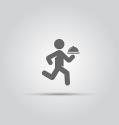 waiter with a tray isolated icon vector image