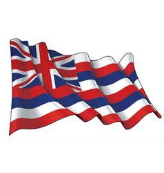 Waving flag state hawaii vector