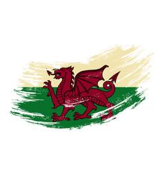 Welsh flag grunge brush background vector