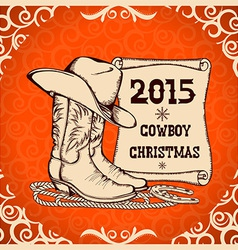 Western New Year greeting card with cowboy vector image