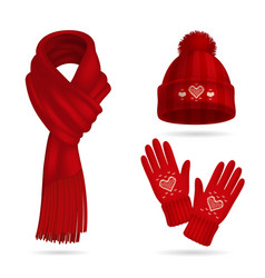 Winter red knitwear set vector