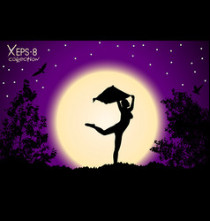 Young girl silhouette with shawl dancing on vector