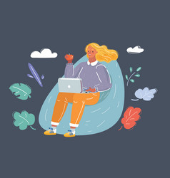 Young woman sitting on bean bag with laptop vector