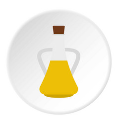 Bottle with olive oil icon circle vector