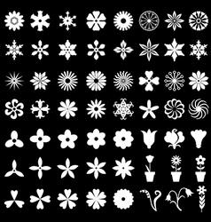 flower set black vector image vector image