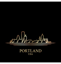 Gold silhouette of Portland on black background vector image