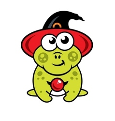 Halloween frog in witch hat Cartoon vector image vector image