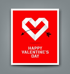 Happy valentine day origami heart paper vector
