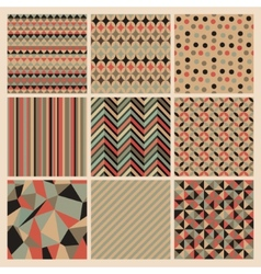 Seamless geometric retro background set vector image vector image