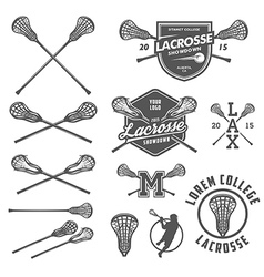 Set of lacrosse design elements vector image vector image