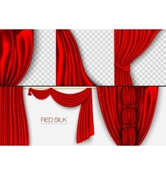 silk curtains red colors isolated vector image vector image