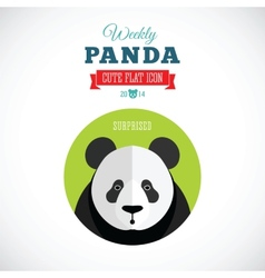 Weekly Panda Cute Flat Animal Icon - Surprised vector image vector image