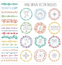 Winter doodle brushesChristmas decorColored vector image vector image