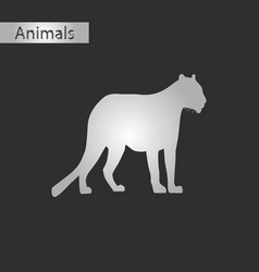 black and white style icon of panther vector image vector image