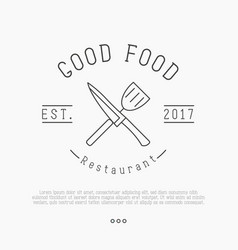 logo for cafe or restaurant with knife vector image vector image