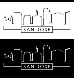 san jose skyline linear style editable file vector image