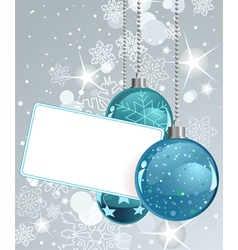 white blank label with christmas balls vector image