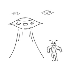 alien and spaceships vector image