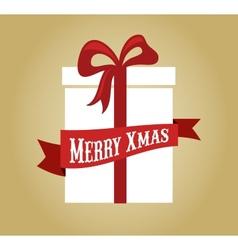 Christmas gift box with ribbon and bow vector image
