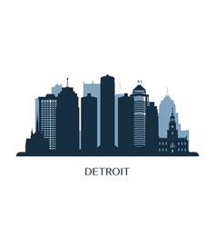detroit skyline monochrome silhouette vector image