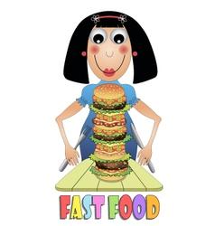 Girl eating hamburger vector image vector image