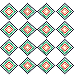 Green red rural geometric ornament pattern vector image vector image
