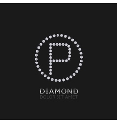 P letter with diamonds vector image vector image