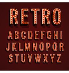 Retro font with light bulbs vector