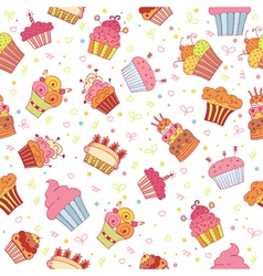 Seamless pattern with cupcakes birthday party vector