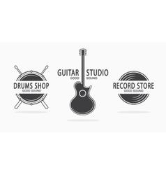 Set of vintage musical instrument logos vector image