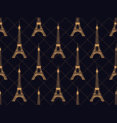 art deco seamless pattern with eiffel tower gold vector image