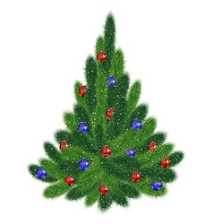 christmas tree with red and blue balls vector image vector image