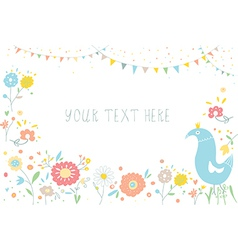 Greeting background with flowers for invitation vector image vector image