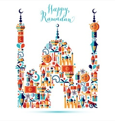 Happy Ramadan icons set of Arabian vector image