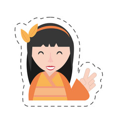 portrait geisha kimono diadem vector image vector image