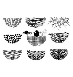 set bird nests icons vector image vector image