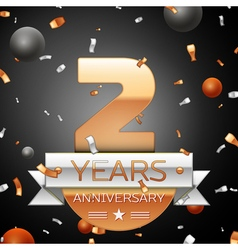 Two years anniversary celebration background with vector image vector image