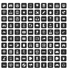 100 gadget icons set black vector