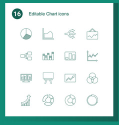 16 chart icons vector image
