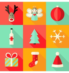 9 Christmas Flat Icons Set 4 vector image