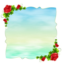 An empty template with red roses vector image