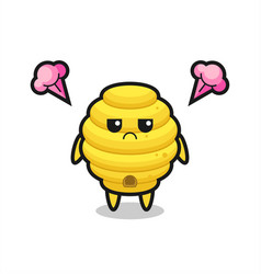 Annoyed expression of the cute bee hive cartoon vector