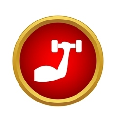 Arm with dumbbell icon in simple style vector image