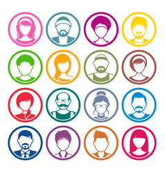 Avatar circle icons male and female faces vector